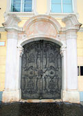 Medieval door with ornate metal pattern(Salzburg) — Stock Photo