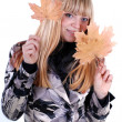 Cute blond with leaf — Foto Stock #21255441