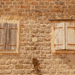 Two old closed italian windows with shutters — Stock Photo