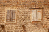 Two old closed italian windows with shutters — 图库照片