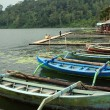 Lake Bratan, outrigger canoes (prahu), Bali — Stock Photo