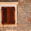 Window with shutters in old wall (Italy) — Stock Photo