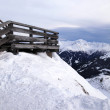 Wooden terrace at mountain ski resort in Alps, Austria — Stock Photo