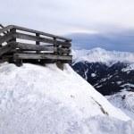 Wooden terrace at mountain ski resort in Alps, Austria — Stock Photo
