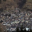 Aerial view of mountain village Bad Hofgastein, Austrian Alps - Stock Photo