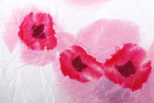 Floral crumpled fabric with red poppies . — 图库照片