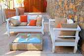 Beautiful mediterranean patio with white outdoor furniture — Stock Photo