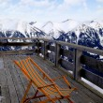 Lounge chair at ski resort(Alps) — Stock Photo