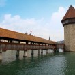 Постер, плакат: Chapel bridge in Lucerne Switzerland