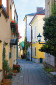 Narrow cobblestone street, Baden, Austria — Stock Photo