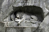 Lion Monument (Löwendenkmal) in park (Lucerne, Switzerland), — Stock Photo