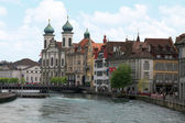 Jesuit Church and waterfront , Lucerne, Switzerland — Stock Photo