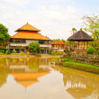 Traditional house and river(Bali, Indonesia) — Стоковая фотография
