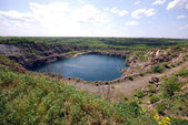 Blue lake in open pit — Stock Photo