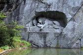 Lion Monument (Löwendenkmal) in park (Lucerne, Switzerland), — Stock Photo