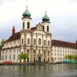 Stock Photo: Jesuit Church and waterfront , Lucerne, Switzerland