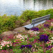 Stock Photo: Bench and flowers at alpen lake in Montreux (Switzerland)
