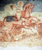 Antique wall fresco- St. George — Stock Photo