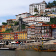 Ribeira and wine boats(Rabelo) on River Douro, Porto, Portugal — Stock Photo