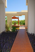 Wood path to summer resort pavilion for massage — Stock Photo