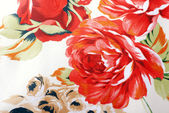 Silk floral fabric with red rose — Stock Photo