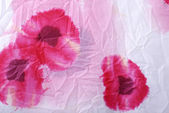 Floral crumpled fabric with red poppies . — ストック写真