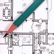 Blueprint and pencil — Stock Photo