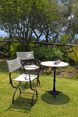 Table and iron chairs in the garden(Greece) — Stockfoto