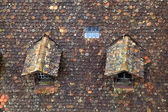 Old brown tile roof with dormer — Stock Photo