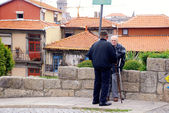 Two senior men on old street in Porto, Portugal — Stock Photo