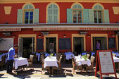 French restaurants on the Cours Saleya, Nice, France — Stock Photo