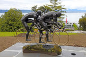 Cyclistes sculpture at Olympic museum in Lausanne, Switzerland — Stock Photo