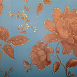 Vintage blue wallpaper with golden floral victorian pattern — Stock Photo