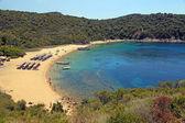 Sand beach and turquoise sea, Ammouliani Island, Greece — Stock Photo