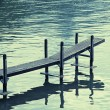 Old wood jetty at Lake Geneva, Switzerland — Stock Photo