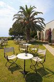 Tavoli e sedie di ferro nel giardino con fiori, palme e — Foto Stock
