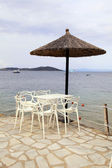 Beach cafe on sea pier, Greece. — Stok fotoğraf
