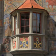 Stock Photo: Medieval balcony in Stein am Rhein, Switzerland.