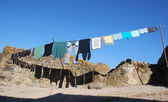 Drying clothes in a village — Stock Photo