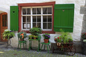 Rustic window with green shutters and flower pots — Stock Photo