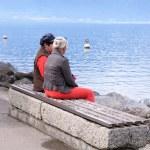 Senior women on the banch, lake Geneva, Switzerland — Stock Photo
