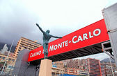 Bronze statue and signboard, Monaco, Monte-Carlo. — Stock Photo