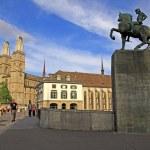 ������, ������: Grossmuenster and Monument to Hans Waldmann Zurich Switzerland