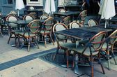 Outdoor french cafe in Old Town of Nice, France — Stock Photo