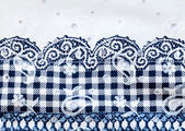 Vintage white and blue cotton fabric — Stock Photo