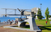 Monument of biplane in Belem, Lisbon, Portugal  — Stockfoto
