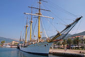 Sail ship at the pier in Tivat, Montenegro. — Foto de Stock