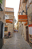 Narrow street at Budva Old Town Center in Budva, Montenegro.  — Stock Photo