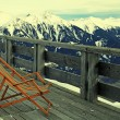 Lounge chair at mountain ski resort in Alps, Austria — Stock Photo #49571601