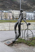 Nude bronze statue of Cyclist in Salzburg, Austria — Stock Photo